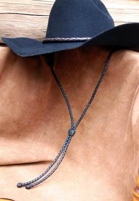 Black deer leather hat chin straps
